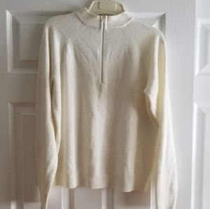 White zip up pullover Cashmere Sweater